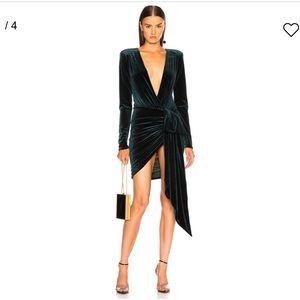 Alexandre vauthier green velvet wrap mini dress